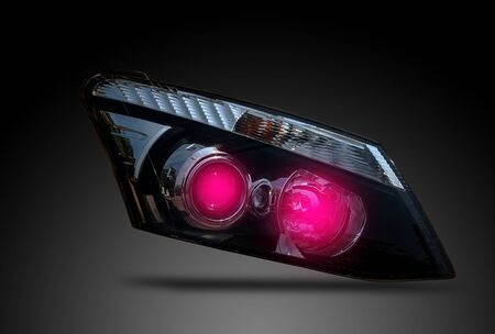 Car headlight, led system, isolated from white background