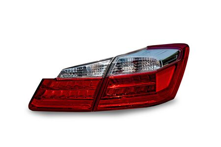 Headlights and taillights Separated from the technology background Car headlight technology white car led system separating from white background clipart