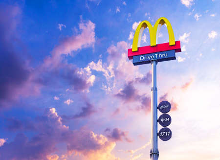 Logo McDonald's drive thru 24 hours Food and beverage business Rafting American food in Thailand Nonthaburi - Bang Bua Thong 27 September 2019 Redakční