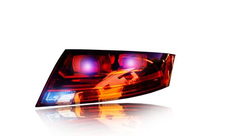 Car tail light led sensor system separate technology in the background shadow reflection cut out clipingpart
