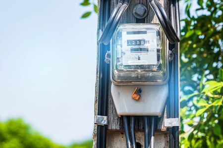 Electricity meter, current meter On cement posts, electric power for use in home appliances electronics Measurement System Unit Technology