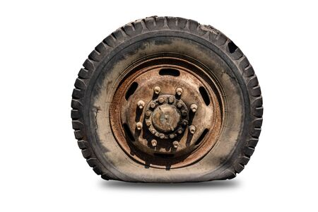 Old flat car tire separated from the background cliping part Archivio Fotografico