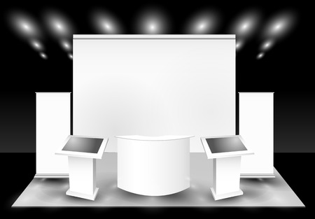 Blank trade exhibition stand and lcd monitor Stock Illustratie
