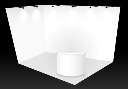 trade show: trade show booth with counter