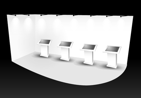 trade show booth with monitor