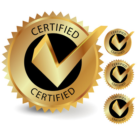 Certified golden label, vector