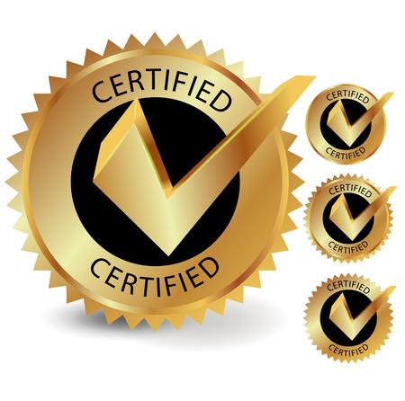 Certified golden label, vector