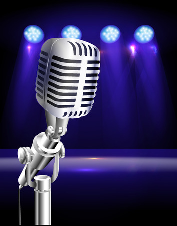 vintage microphone with stage Vector