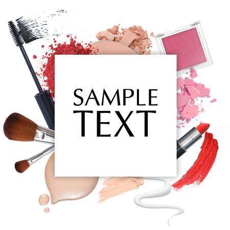 traitement: cadre de la promotion cosmétique sur un fond blanc Banque d'images