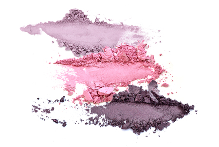 crushed eyeshadow makeup set isolated