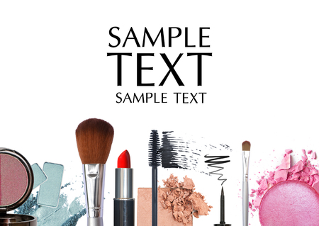 makeup brush and cosmetics background Reklamní fotografie
