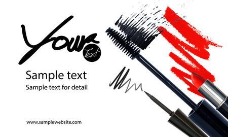 Maquillage artiste modèle de carte de visite avec articles de maquillage fond Banque d'images - 60010017