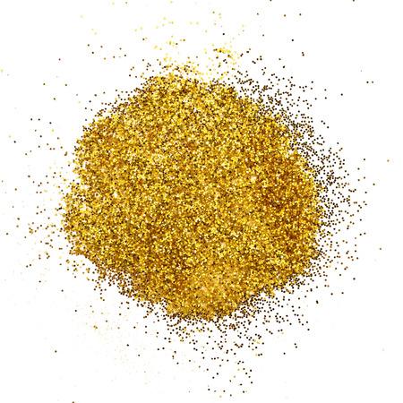 Luxury gold glitter sparkles on white background