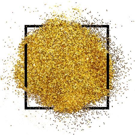 Luxury gold glitter sparkles square frame Reklamní fotografie