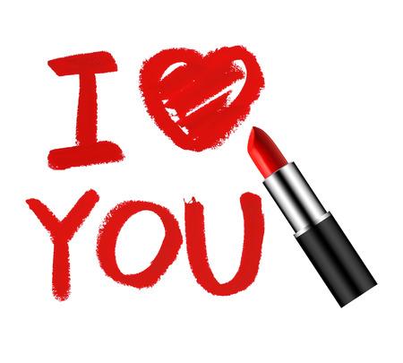 Je t'aime concept de rouge à lèvres Banque d'images - 60573971