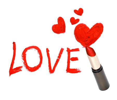 Inscription lipstick LOVE Stock Photo