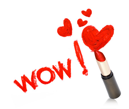 Inscription lipstick WOW Stock Photo