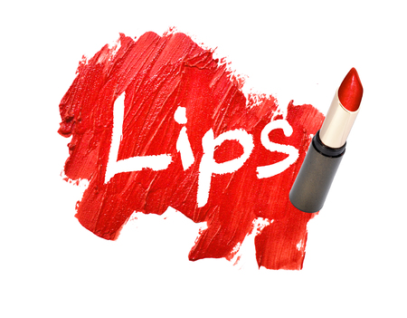 lipstick smudged on white background with Lips