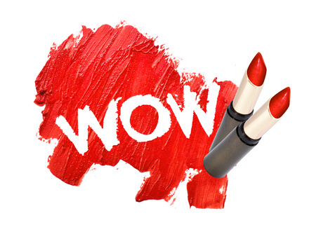 smudged: lipstick smudged on white background with WOW Stock Photo
