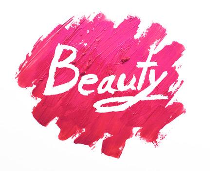 """lippenstift vlekken op witte achtergrond met """"Schoonheid"""" Stockfoto"""