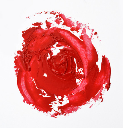 smudged: lipstick smudged look like a rose shape