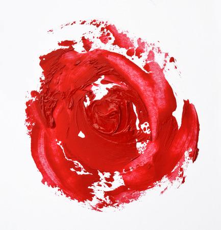 Rouge à lèvres maculée ressemble une forme de rose Banque d'images - 60573978