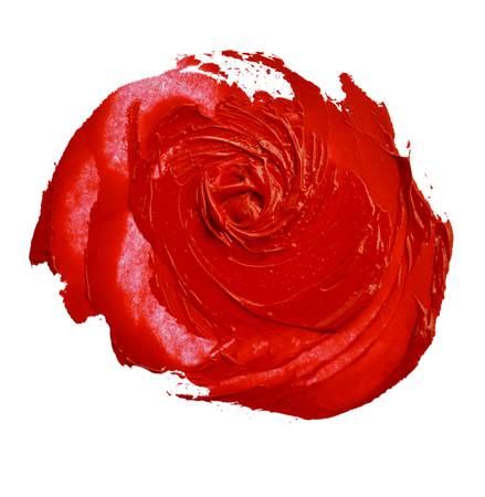red lipstick smudged look like a rose shape
