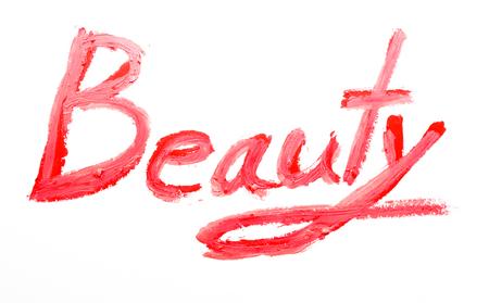 """Inscription rouge à lèvres """"Beauté"""" Banque d'images - 60573980"""