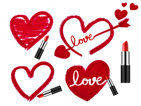 Set of lipsticks and heart shapes