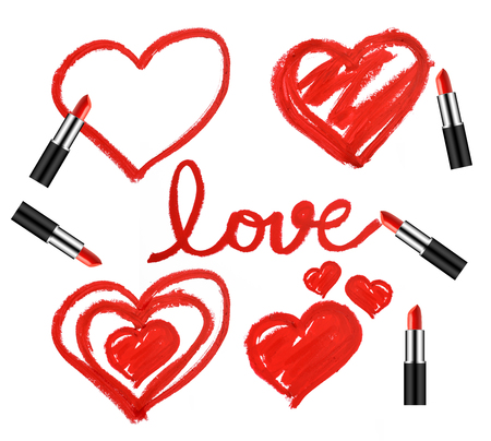 Set of lipsticks and heart shapes on white background