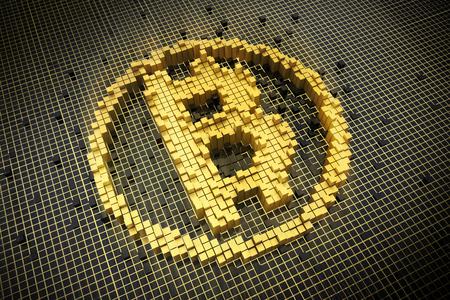 futuristic currency digital money network bitcoin technology worldwide concept 3D rendering Reklamní fotografie
