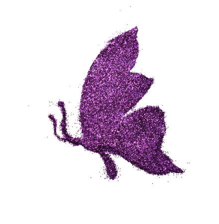 Butterfly made of realistic glitter dust on white background creative concept Banque d'images - 106138266
