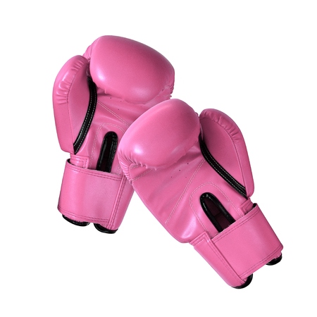 Sweet pastel pink color genuine leather boxing gloves or thai sport for protect athlete hand against heavy strike competition on white background