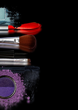 Beauty makeup and cosmetics fashion collection web banners cover flyers or brochure A4 concept of the printing template
