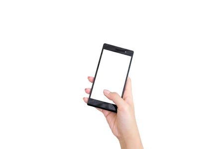 Beauty woman hand holding Black Smartphone with blank screen on white background Reklamní fotografie - 106808789