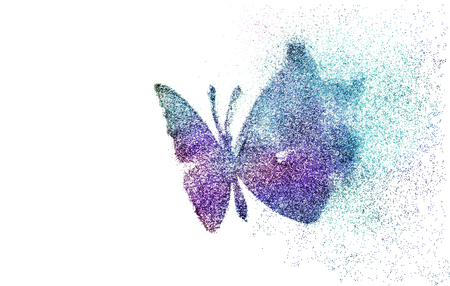 Butterfly made of realistic glitter dust on white background creative concept