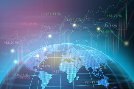 Stock market or forex trading graph with map world representing the global network line wire frame data business concept banner