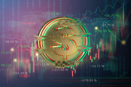 digital golden money coin technology worldwide transfer in the future world business with Stock market or forex trading graph 3d illustration. cyberpunk style Banque d'images