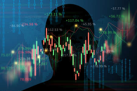 silhouette human head with trading stock or forex graph business concept banner background Banque d'images