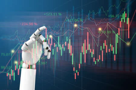 Robot hand Artificial intelligence trading stock or forex graph with data business and buy and sell icon concept background 3d illustration