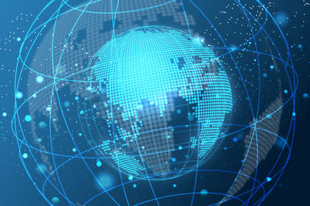 Map World representing the global network line wire frame banner on blue background Banque d'images