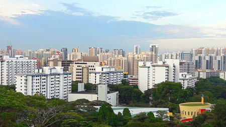 View of Singapores HDB under blue sky Stock Photo