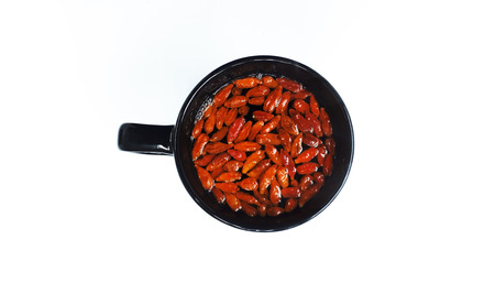 Top view of a cup of Goji(wolfberry) tea Stock Photo