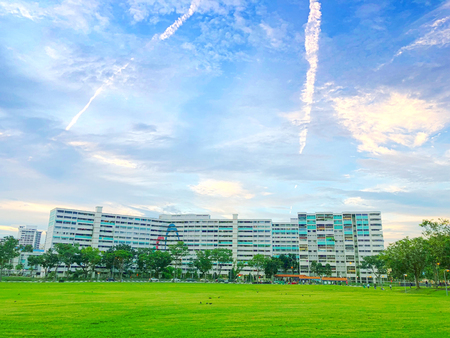 Singapore housing blocks (HDB) across green field under cloudy blue sky