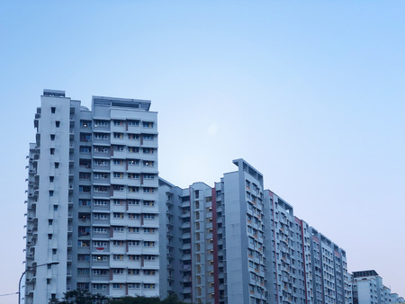 Facade of Modern Looking residential apartment (HDB) in Singapore Stock Photo
