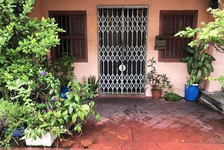 Beautiful facade of traditional folding gate door that usually found on asian shop houses with plants 스톡 콘텐츠