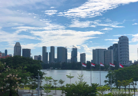 Distant view of Singapore CBD area under cloudy sky, with Singapore flags seen flying Editorial