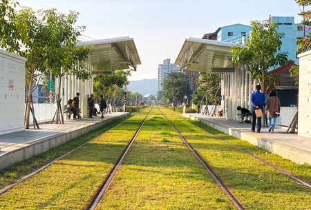 View of a modern open concept tram(LRT) station in Kaohsiung, Taiwan.