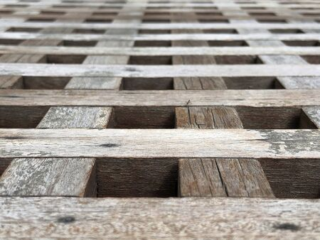 Abstract image of wooden plank intersect each other - pattern concept Banco de Imagens