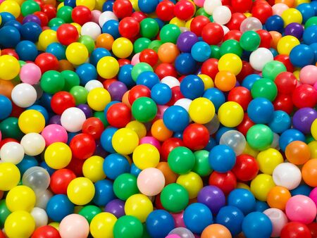 Bright and colorful abstract background of plastic balls Stock fotó
